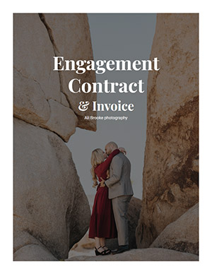 Engagement shoot contract cover page