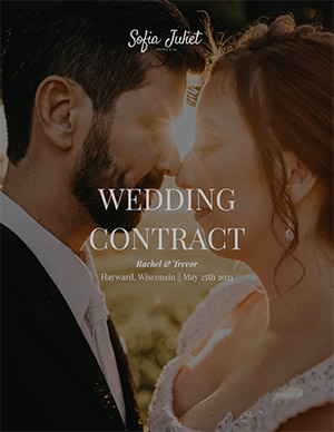 Wedding photography contract cover page
