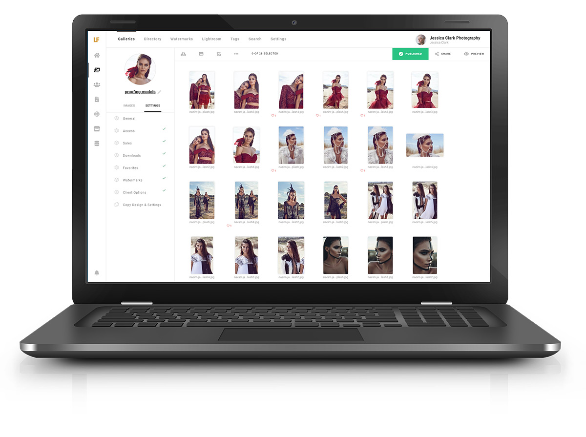 Lightfolio photo proofing screenshot